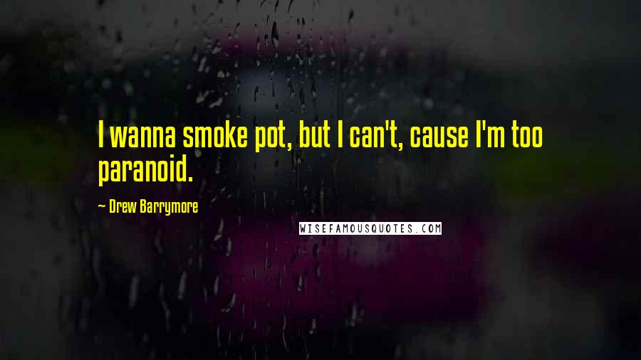 Drew Barrymore quotes: I wanna smoke pot, but I can't, cause I'm too paranoid.