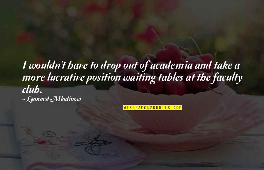 Drop Out Quotes By Leonard Mlodinow: I wouldn't have to drop out of academia