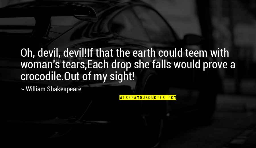 Drop Out Quotes By William Shakespeare: Oh, devil, devil!If that the earth could teem