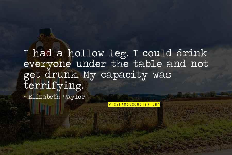 Drunk On You Quotes By Elizabeth Taylor: I had a hollow leg. I could drink