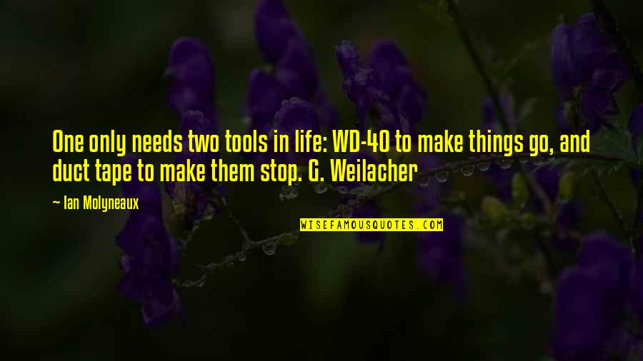 Duct Tape Quotes By Ian Molyneaux: One only needs two tools in life: WD-40
