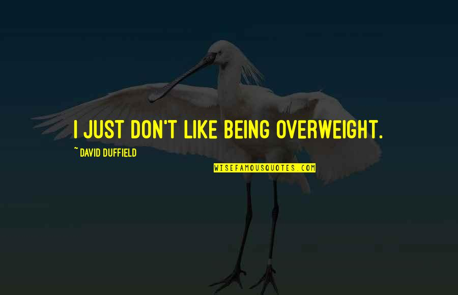 Duffield's Quotes By David Duffield: I just don't like being overweight.