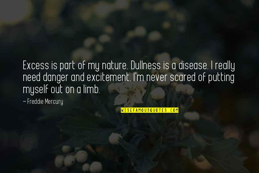 Dullness Quotes By Freddie Mercury: Excess is part of my nature. Dullness is