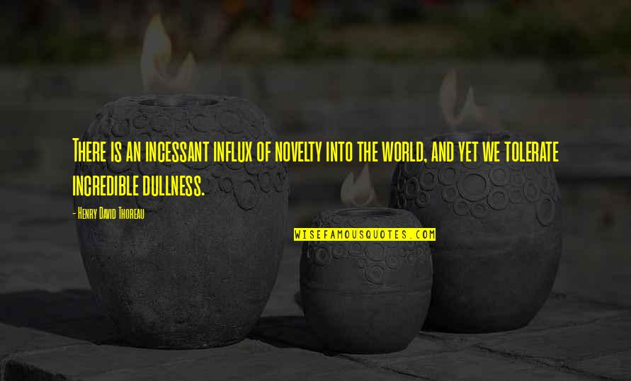 Dullness Quotes By Henry David Thoreau: There is an incessant influx of novelty into