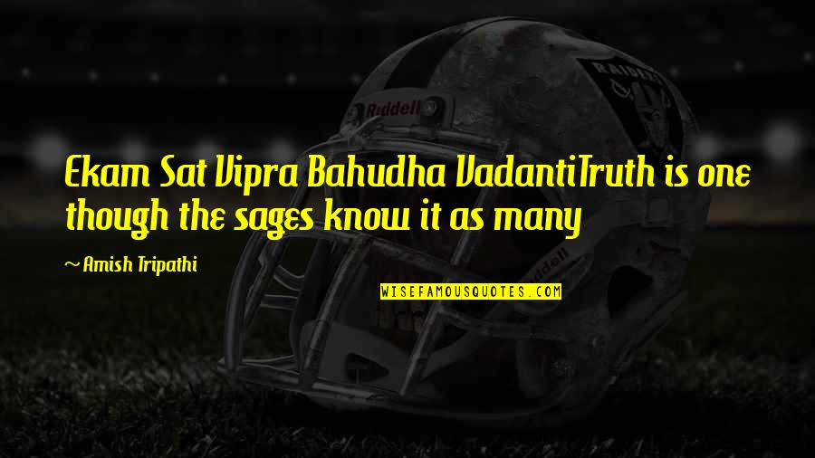 Dumathoin's Quotes By Amish Tripathi: Ekam Sat Vipra Bahudha VadantiTruth is one though
