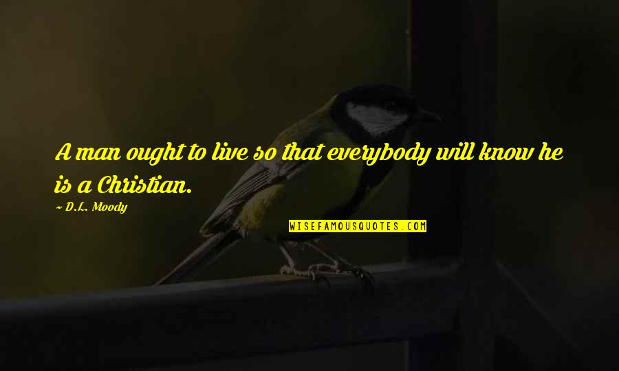 D'unbelievables Quotes By D.L. Moody: A man ought to live so that everybody