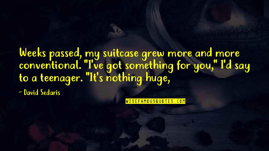 D'unbelievables Quotes By David Sedaris: Weeks passed, my suitcase grew more and more