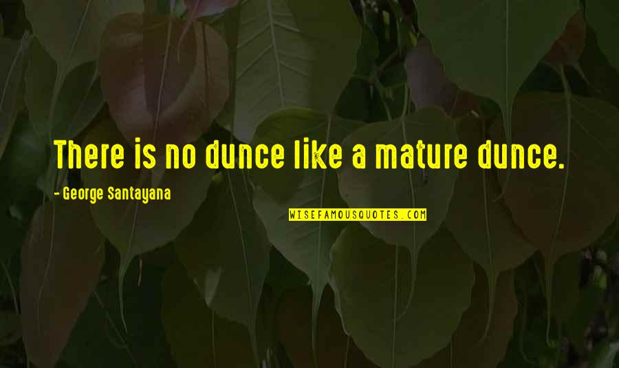 Dunce Quotes By George Santayana: There is no dunce like a mature dunce.