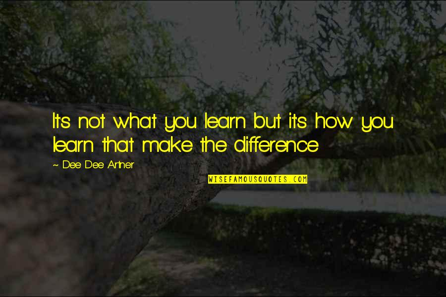 Dusty Muffin Quotes By Dee Dee Artner: It's not what you learn but it's how