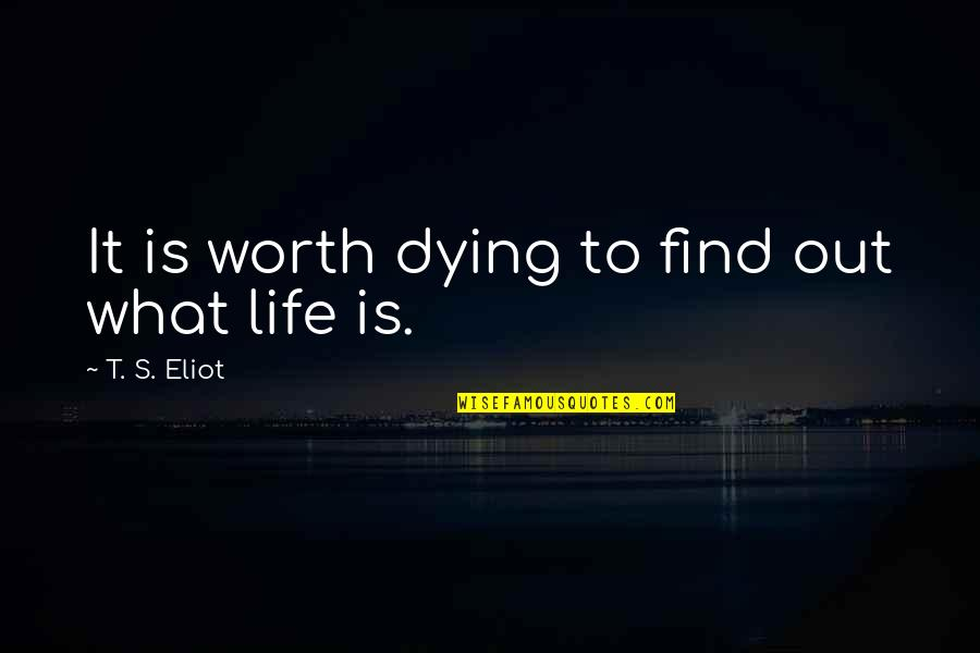 Dying Death Quotes By T. S. Eliot: It is worth dying to find out what