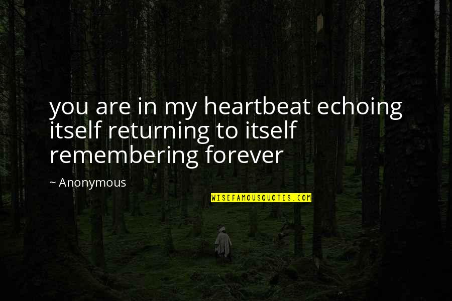 Dying Inside Tumblr Quotes By Anonymous: you are in my heartbeat echoing itself returning