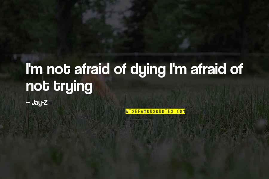 Dying So Young Quotes By Jay-Z: I'm not afraid of dying I'm afraid of