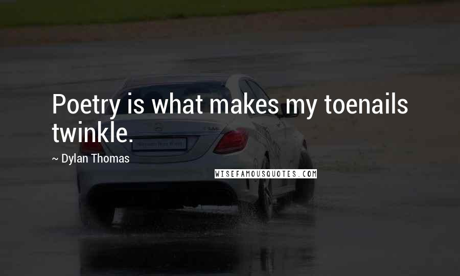 Dylan Thomas quotes: Poetry is what makes my toenails twinkle.