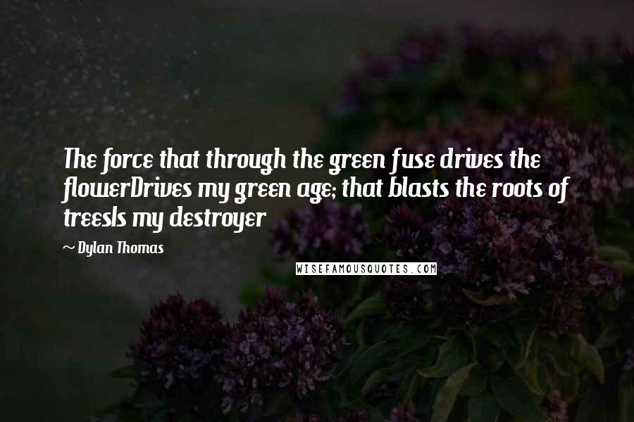 Dylan Thomas quotes: The force that through the green fuse drives the flowerDrives my green age; that blasts the roots of treesIs my destroyer