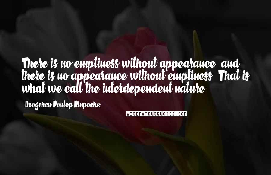 Dzogchen Ponlop Rinpoche quotes: There is no emptiness without appearance, and there is no appearance without emptiness. That is what we call the interdependent nature.