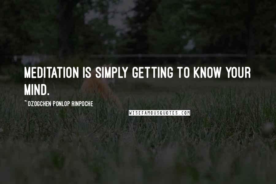 Dzogchen Ponlop Rinpoche quotes: Meditation is simply getting to know your mind.