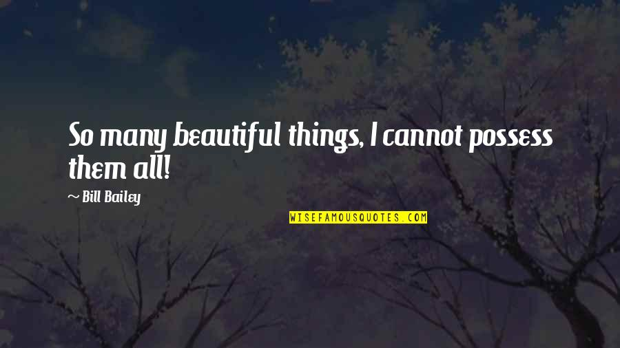 E.k. Bailey Quotes By Bill Bailey: So many beautiful things, I cannot possess them