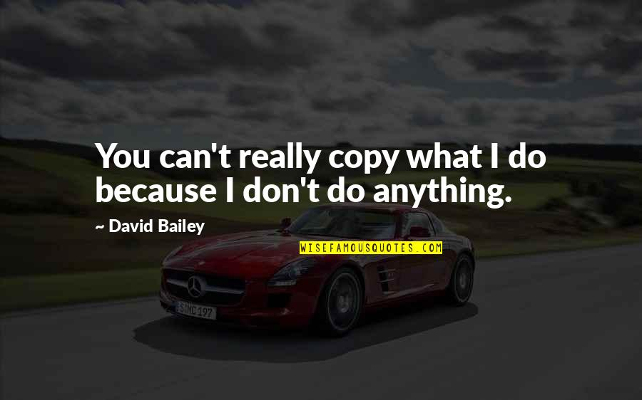 E.k. Bailey Quotes By David Bailey: You can't really copy what I do because