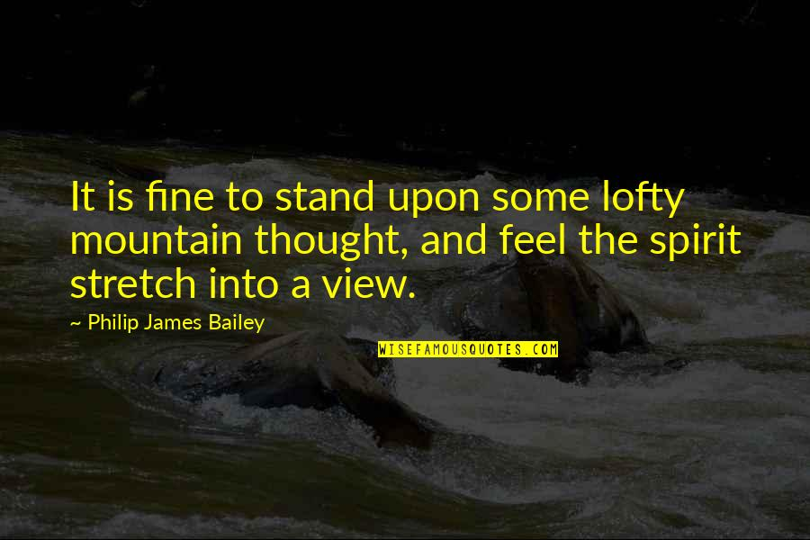 E.k. Bailey Quotes By Philip James Bailey: It is fine to stand upon some lofty