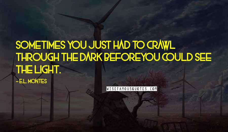 E.L. Montes quotes: Sometimes you just had to crawl through the dark beforeyou could see the light.