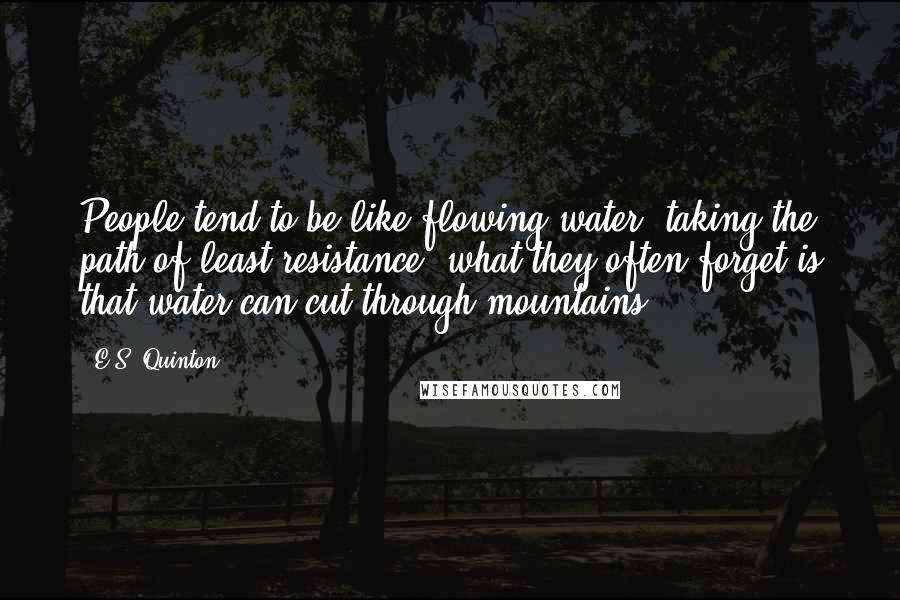 E.S. Quinton quotes: People tend to be like flowing water; taking the path of least resistance, what they often forget is that water can cut through mountains.