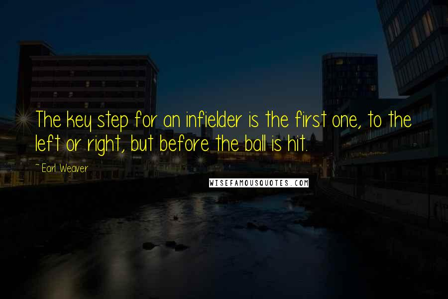 Earl Weaver quotes: The key step for an infielder is the first one, to the left or right, but before the ball is hit.