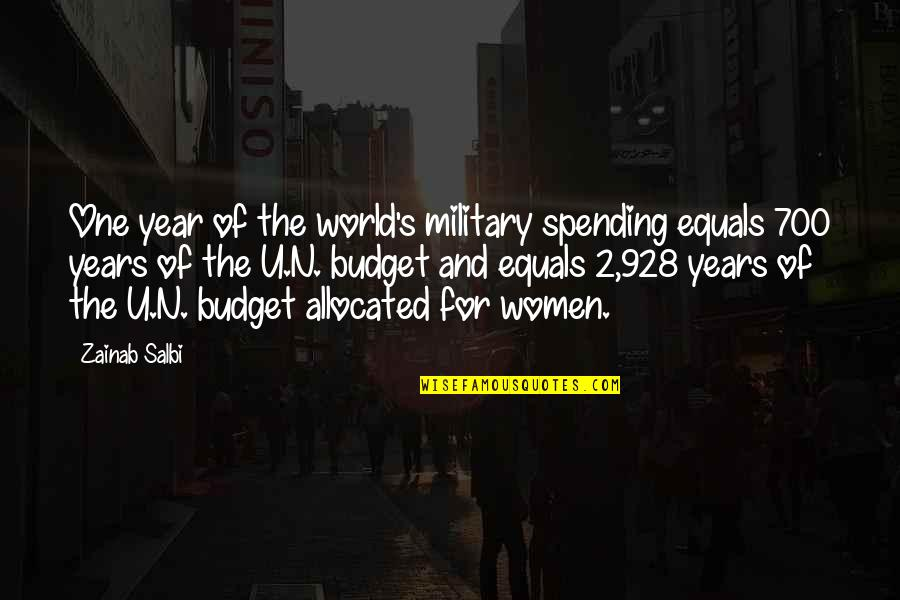 Earthlings Film Quotes By Zainab Salbi: One year of the world's military spending equals