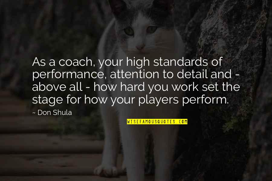 Earthquake In Japan Quotes By Don Shula: As a coach, your high standards of performance,