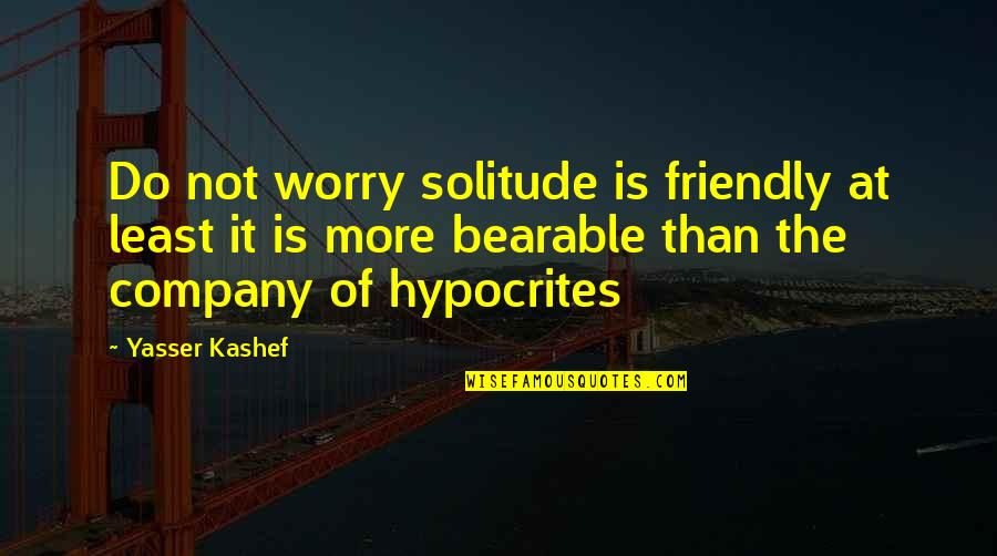 Earthships Quotes By Yasser Kashef: Do not worry solitude is friendly at least