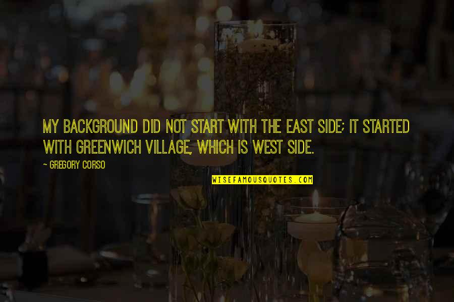 East Side West Side Quotes By Gregory Corso: My background did not start with the East