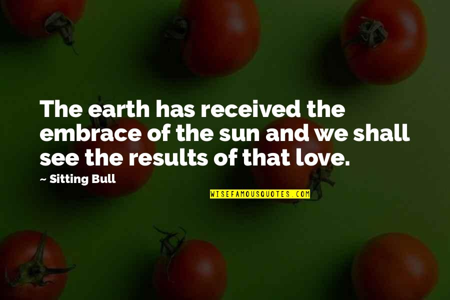 Eastern Spiritual Quotes By Sitting Bull: The earth has received the embrace of the