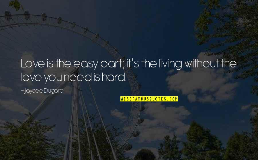 Easy Living Quotes By Jaycee Dugard: Love is the easy part; it's the living