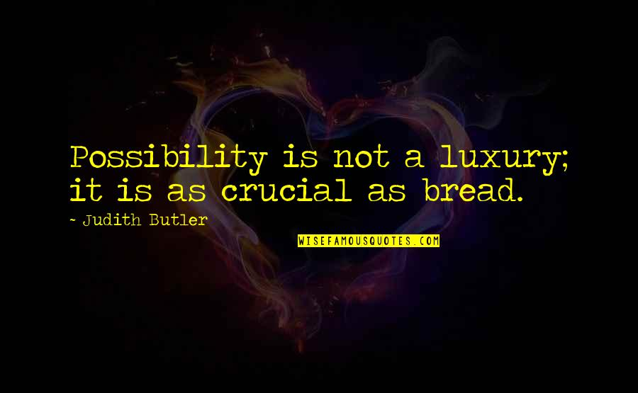 Easy Route Quotes By Judith Butler: Possibility is not a luxury; it is as