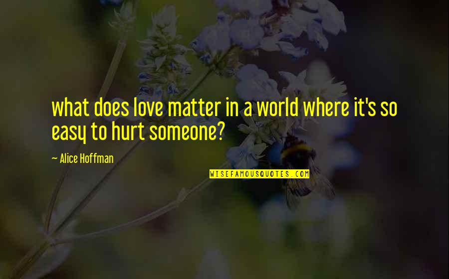 Easy To Love Someone Quotes By Alice Hoffman: what does love matter in a world where