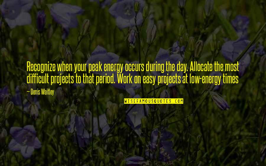Easy Work Quotes By Denis Waitley: Recognize when your peak energy occurs during the