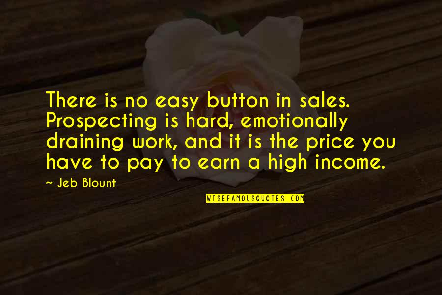 Easy Work Quotes By Jeb Blount: There is no easy button in sales. Prospecting