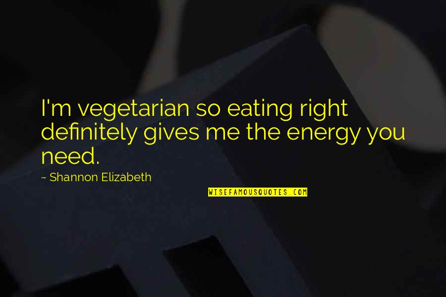 Eating Right Quotes By Shannon Elizabeth: I'm vegetarian so eating right definitely gives me