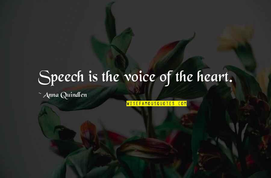 Eche Quotes By Anna Quindlen: Speech is the voice of the heart.