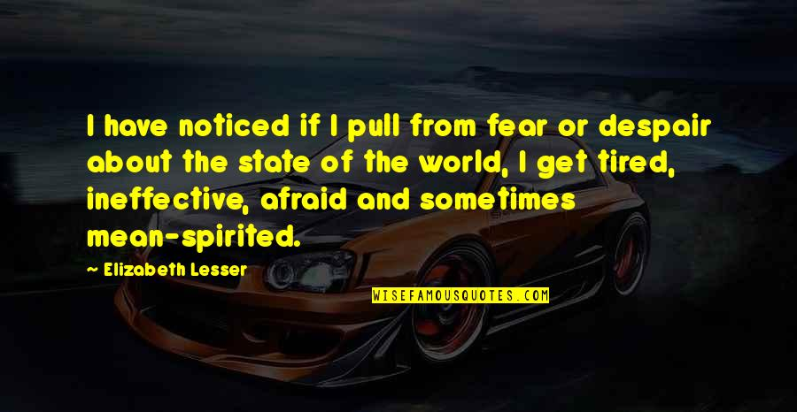 Echoic Quotes By Elizabeth Lesser: I have noticed if I pull from fear