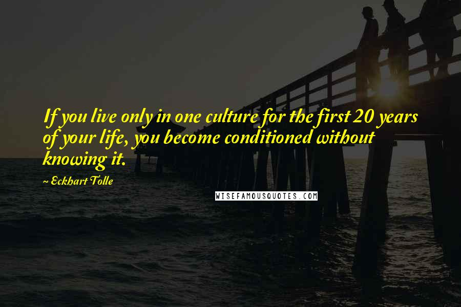 Eckhart Tolle quotes: If you live only in one culture for the first 20 years of your life, you become conditioned without knowing it.