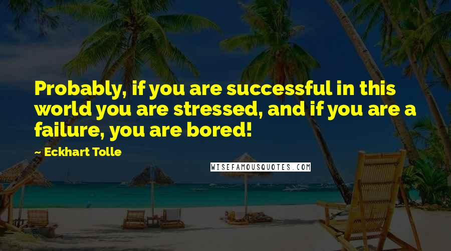 Eckhart Tolle quotes: Probably, if you are successful in this world you are stressed, and if you are a failure, you are bored!
