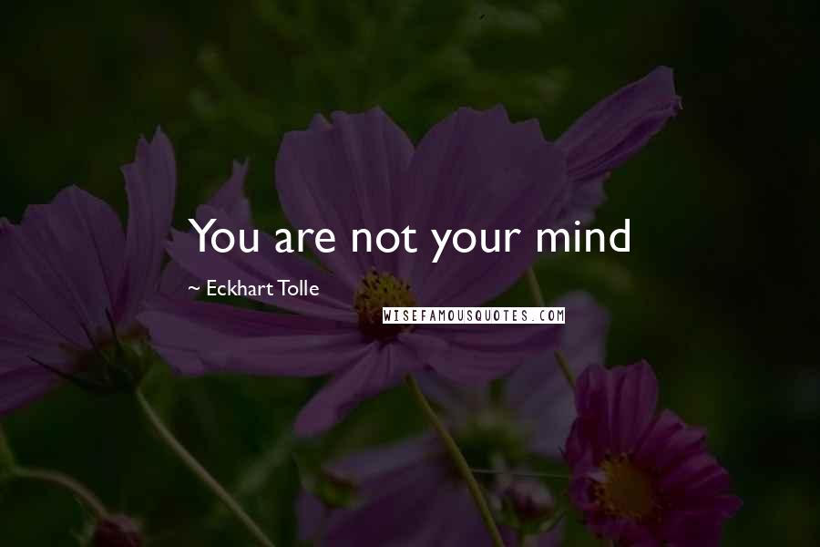 Eckhart Tolle quotes: You are not your mind