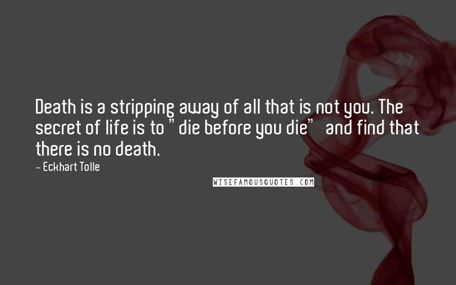 "Eckhart Tolle quotes: Death is a stripping away of all that is not you. The secret of life is to ""die before you die"" and find that there is no death."