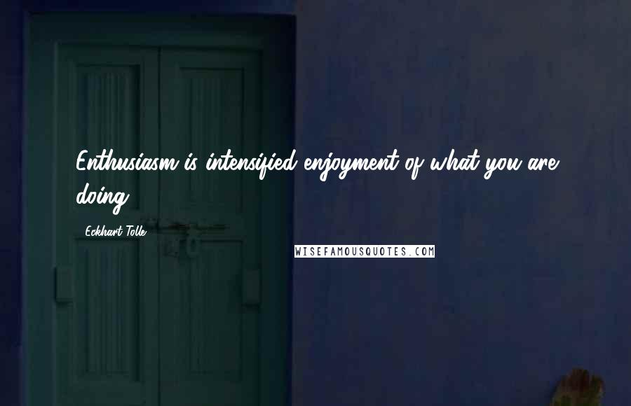 Eckhart Tolle quotes: Enthusiasm is intensified enjoyment of what you are doing.