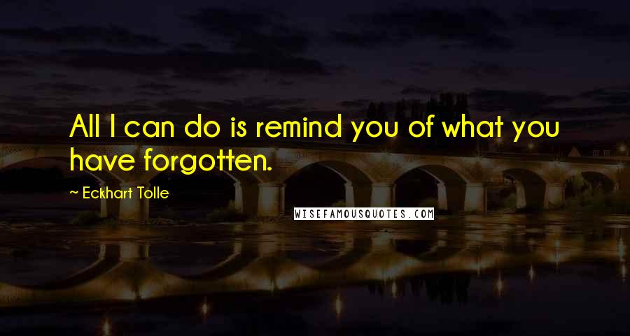 Eckhart Tolle quotes: All I can do is remind you of what you have forgotten.