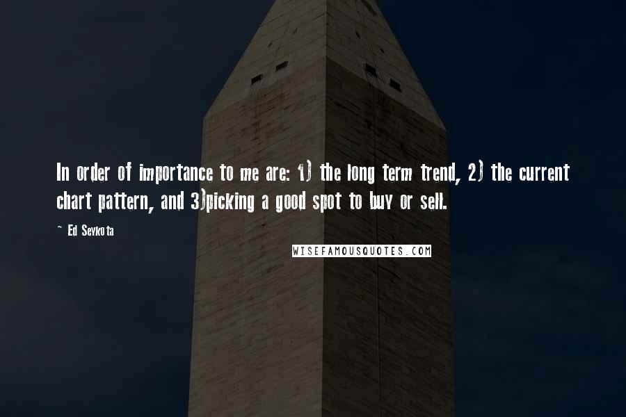 Ed Seykota quotes: In order of importance to me are: 1) the long term trend, 2) the current chart pattern, and 3)picking a good spot to buy or sell.