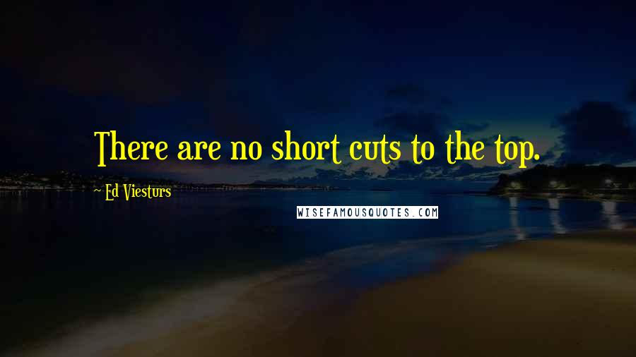 Ed Viesturs quotes: There are no short cuts to the top.