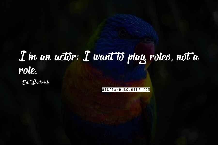 Ed Westwick quotes: I'm an actor; I want to play roles, not a role.