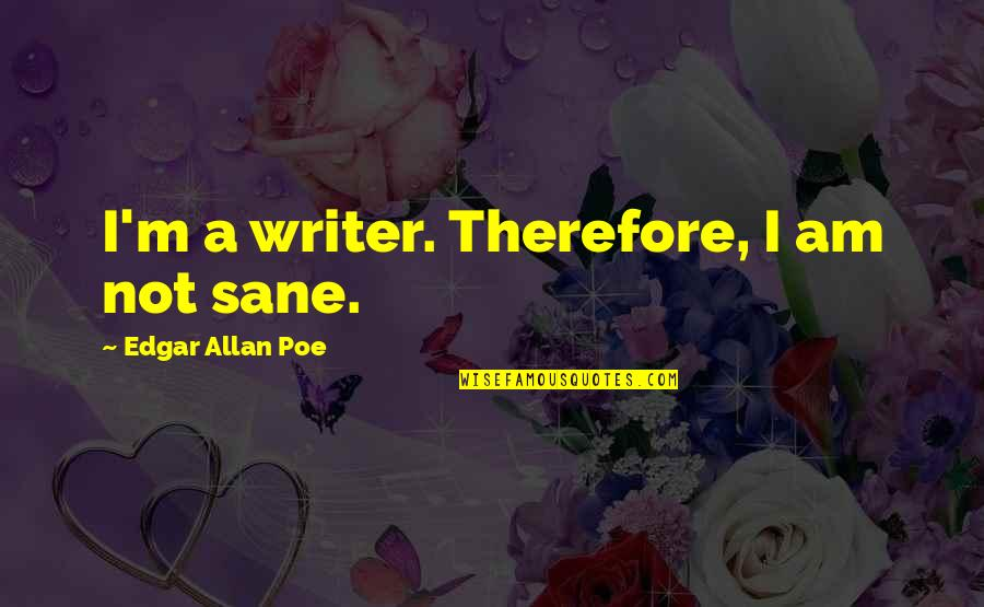 Edgar Allan Poe Quotes By Edgar Allan Poe: I'm a writer. Therefore, I am not sane.