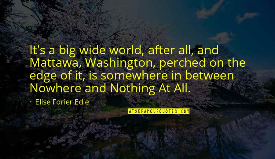 Edge Of The World Quotes By Elise Forier Edie: It's a big wide world, after all, and